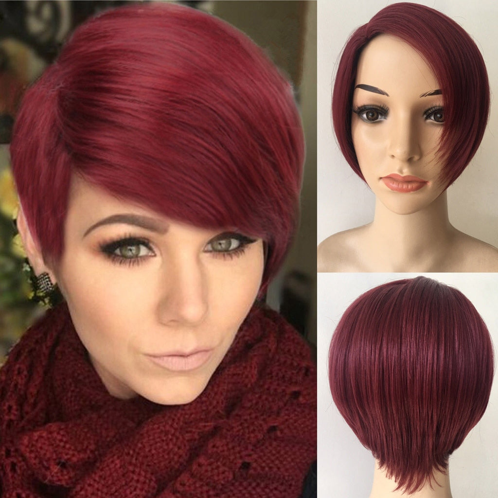 Short Straight Red Wine Color Women's Wigs Natural Hair Wigs Fashion Black/White lady Wig - LIZ'B'HAIR