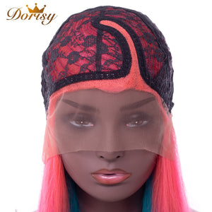 Lace Front Human Hair Wig Malaysia Straight Ombre Pink Blue Yellow Mix Color Remy Hair - LIZ'B'HAIR
