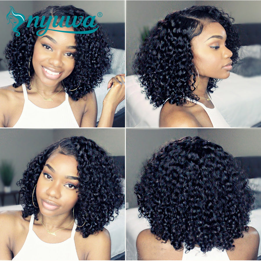 Short 13x6 Lace Front Human Hair Wigs Pre Plucked With Baby Hair Curly Brazilian Remy Hair Lace Front Bob Wigs - LIZ'B'HAIR