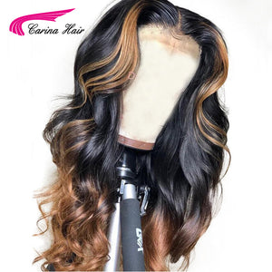 Carina Brazilian Loose Deep Lace Front Human Hair Wigs  PrePlucked Honey Blonde Remy Ombre Color Glueless Wig With Highlight - LIZ'B'HAIR