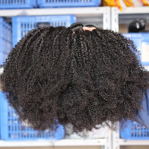 Mongolian Afro Kinky Curly Hair Weave 4B 4C Natural Black Raw Virgin Human Hair Bundles Extension - LIZ'B'HAIR