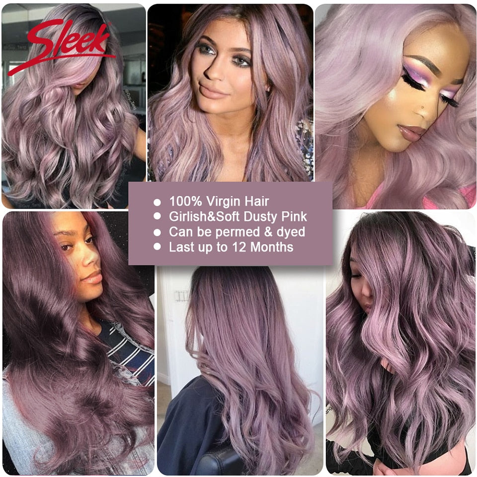 Colorful Ombre TT1B/Purple 3 Bundles With Closure Virgin Brazilian Human Body Wave Remy Hair