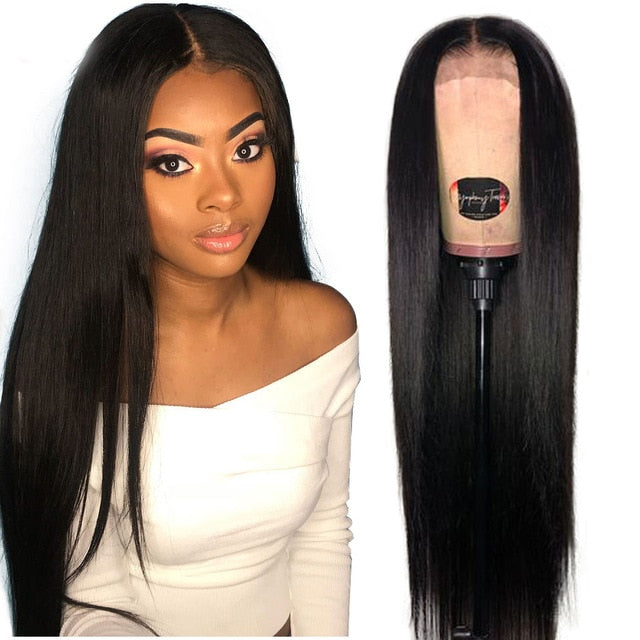 180% Lace Front Human Hair Wigs 13X4 Pre Plucked Remy Brazilian Straight Lace Frontal Wigs With Baby Hair