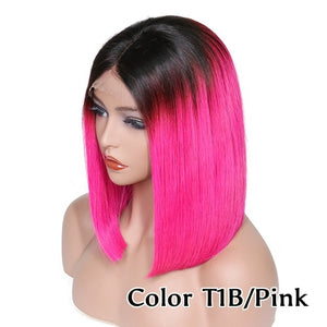 Ombre 1B / Color Lace Front Human Hair Wigs Brazilian Remy Straight Short Bob Lace Wigs Middle Part Plucked Bleached Knots