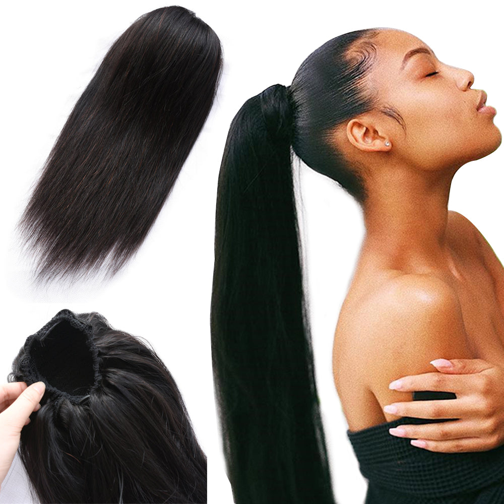 Straight Ponytail 100% Human Hair Drawstring Ponytail With Clips in  Brazilian Non Remy Hair