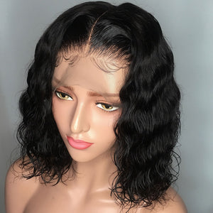 Short Lace Front Human Hair Bob Wigs Pre Plucked Hairline With Baby Hair Curly 13x6 Lace Front Wig Brazilian Remy Hair