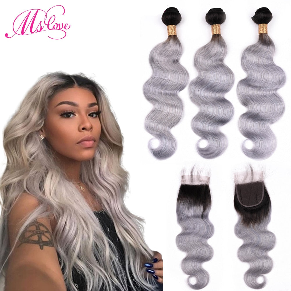 Ombre Grey Bundles With Closure Body Wave Pre Colored Peruvian Human Hair Bundles With Closure Remy Hair Bundles