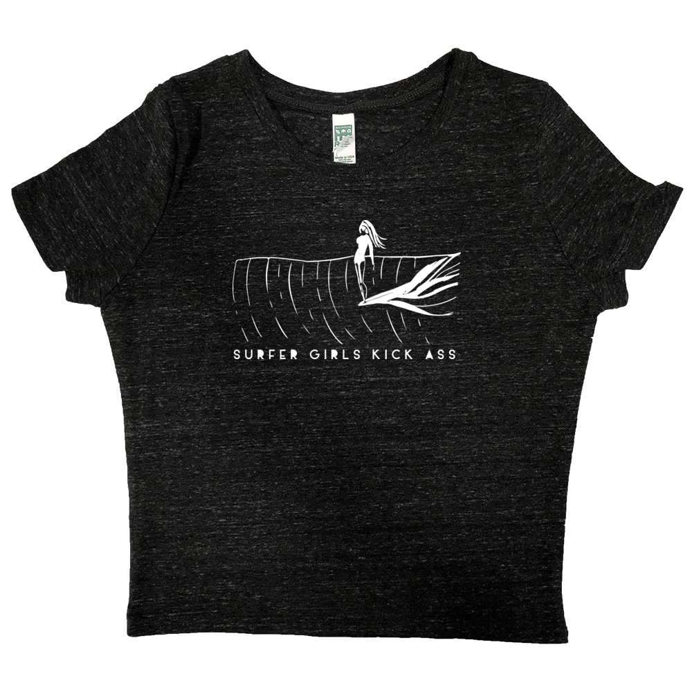 Surfer Girls Kick Ass Women's Crop T-Shirt