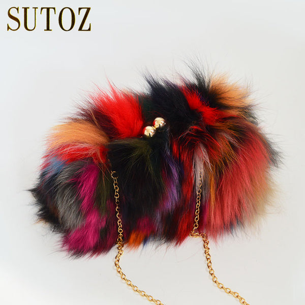 Fashion Raccoon Fur Evening Bag