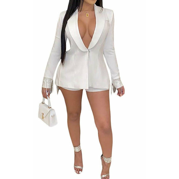 Woman tassel 2 piece outfit blazer and shorts