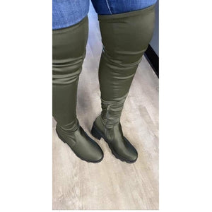 Knee high olive boots