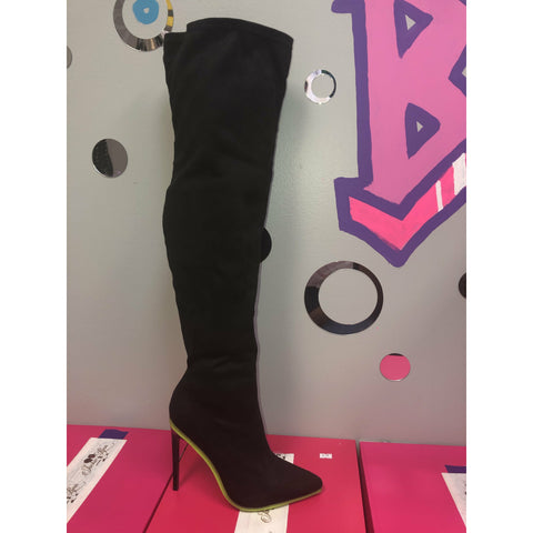 Destine Black and lime thigh boots