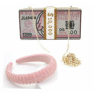 Rhinestone money bag and headband set