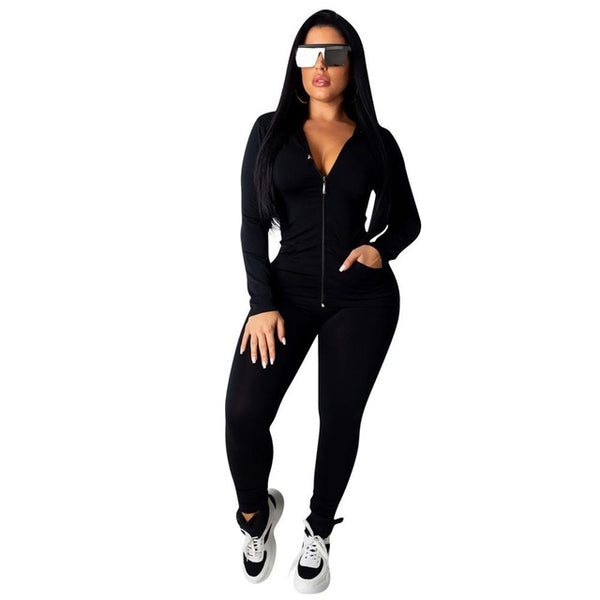 Fashion Hooded Two Piece Set With Zipper Crop Top and Long Pants