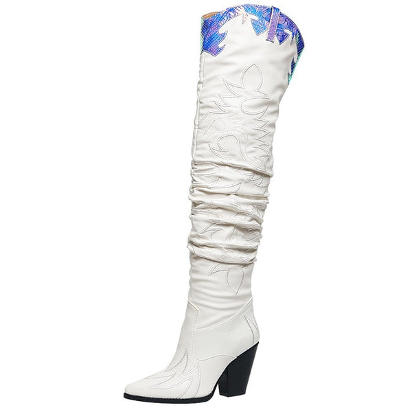 Women Brand Sewing Snake Veins Prints Over The Knee Boots