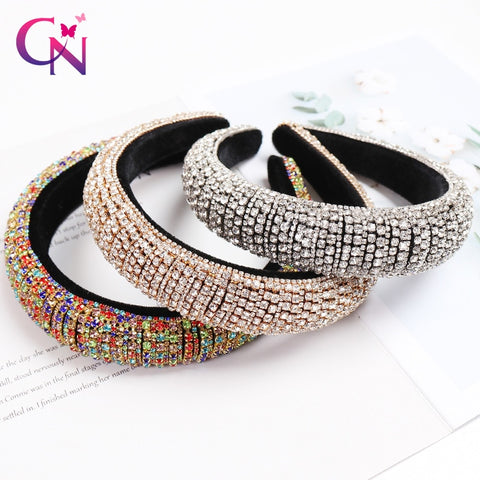 Full Crystal Hair Bands For Women Lady Luxury Shiny Padded Diamond Headband