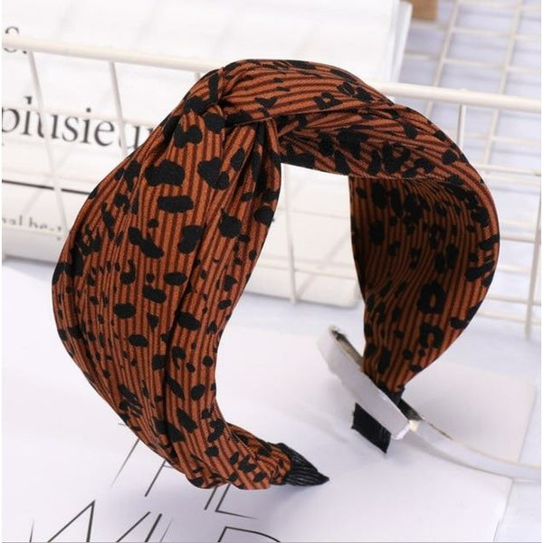 2019 Fashion Leopard Women's Hairband High Elastic Hair Band Wide Side Cross Knot Headband For Adult Girls Headwear Turban