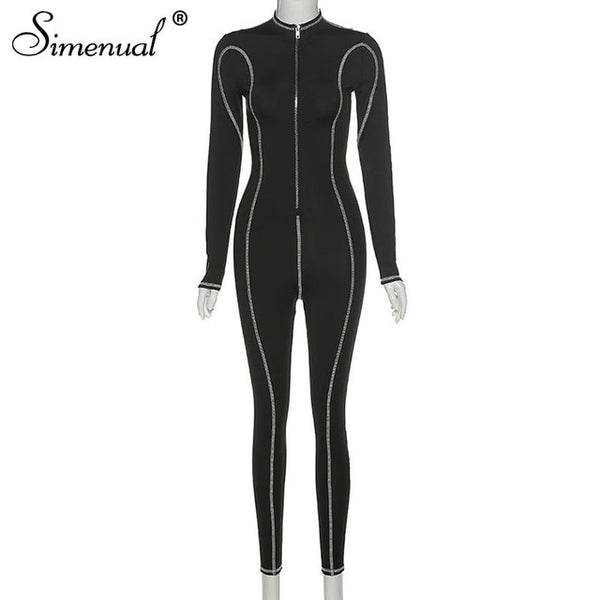 Simenual Fitness Striped Zipper Rompers Women Jumpsuit Long Sleeve Casual Sporty Active Wear Fashion 2020 Push Up Jumpsuits Slim