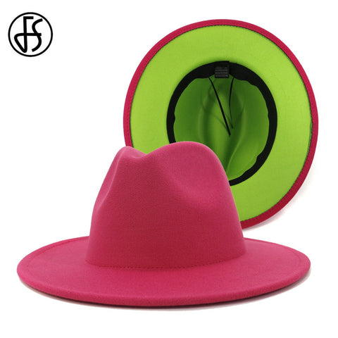 Rose Red Green Patchwork Women Unisex Panama Wool Felt Fedora Hats