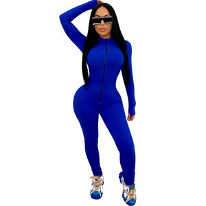 Solid Front Zipper Jumpsuit
