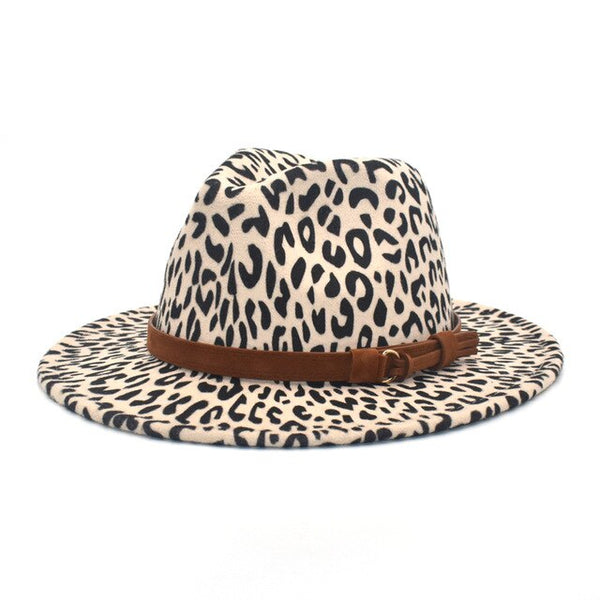New Leopard Print Fedora Wool Hat