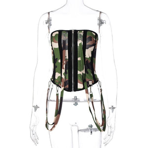 Camouflage Corset Bodycon Women Jumpsuits