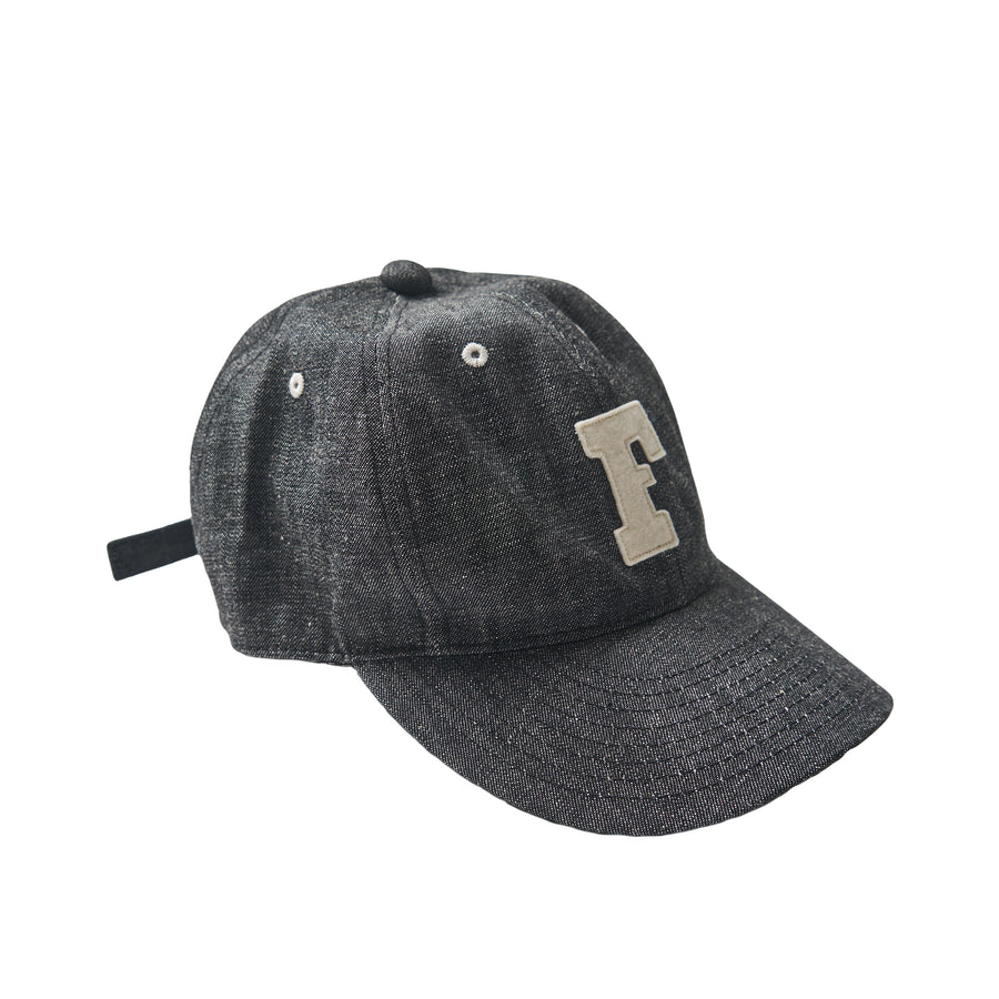 6 Panel Denim Baseball Cap 'F' Patch - Black Denim