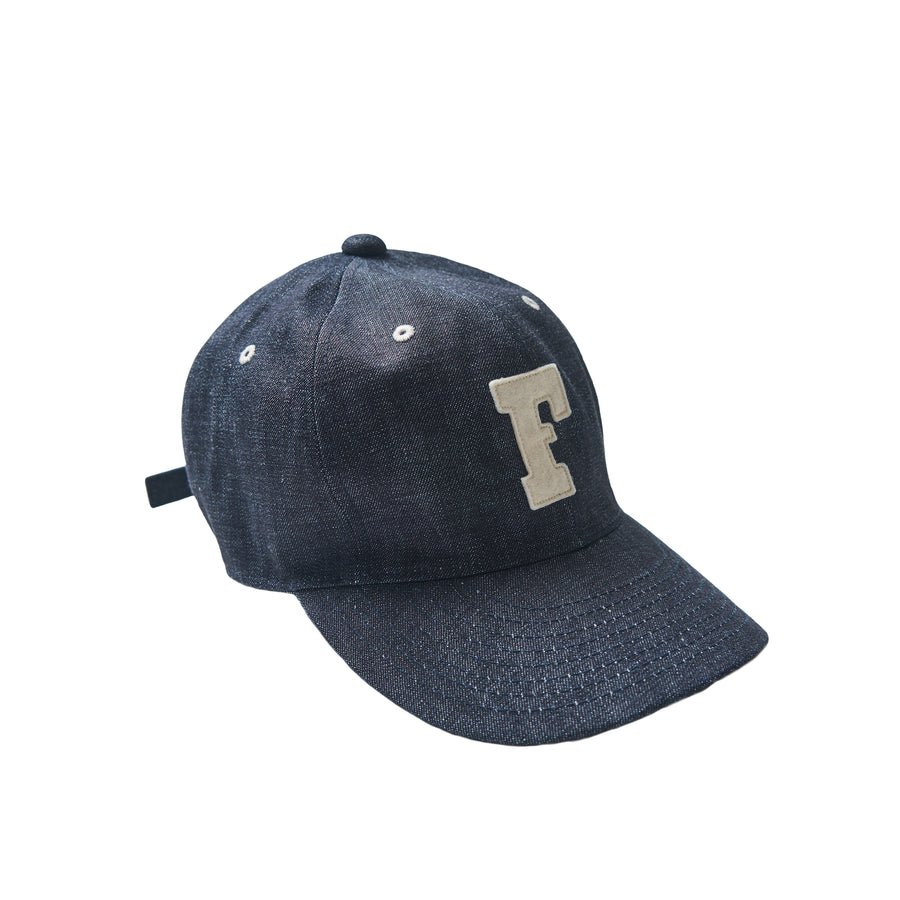 6 Panel Denim Baseball Cap 'F' Patch - Indigo Denim