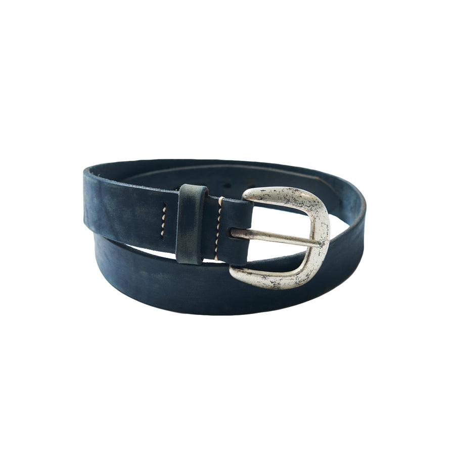 Wild Leather Belt - Navy