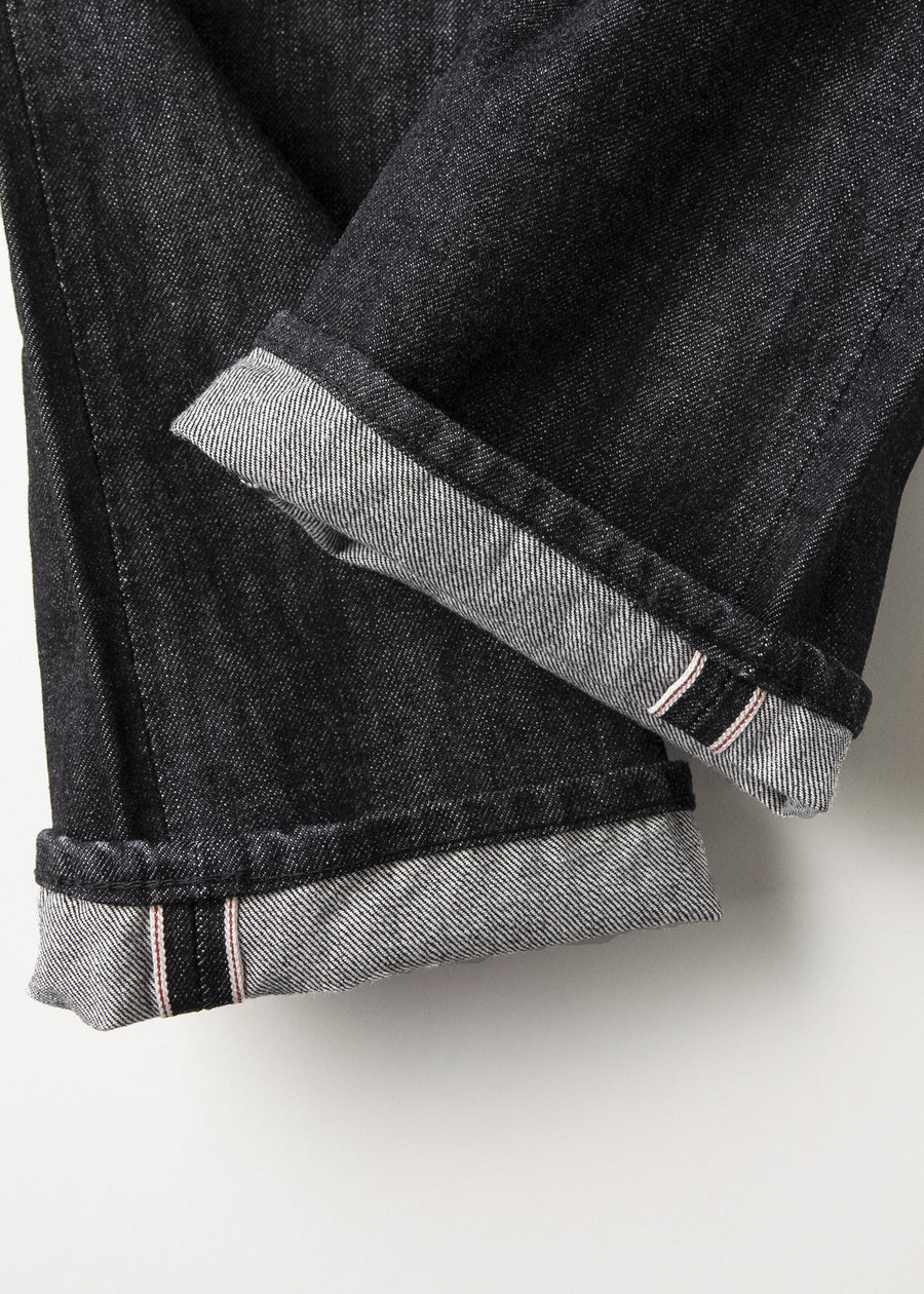 1108BK - Slim Straight Black Selvedge Denim -