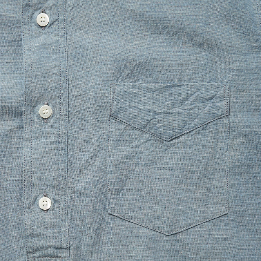 4900 - Round Collar Chambray Shirt - Blue