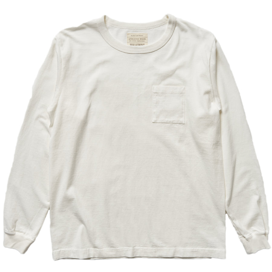 5805L-20 - Heavy Weight Long Sleeve Pocket T-Shirt - White