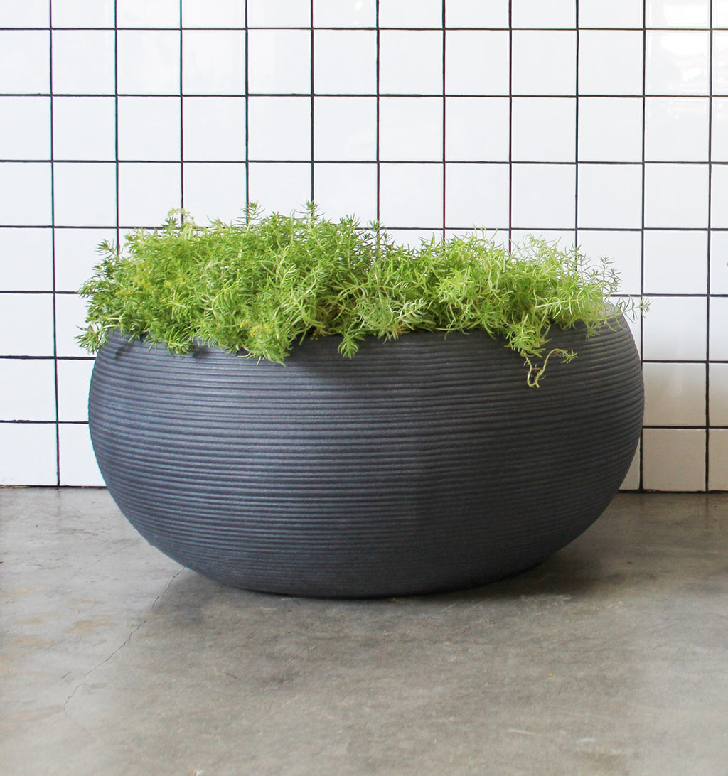 Textured Low Bowl Planter Pot