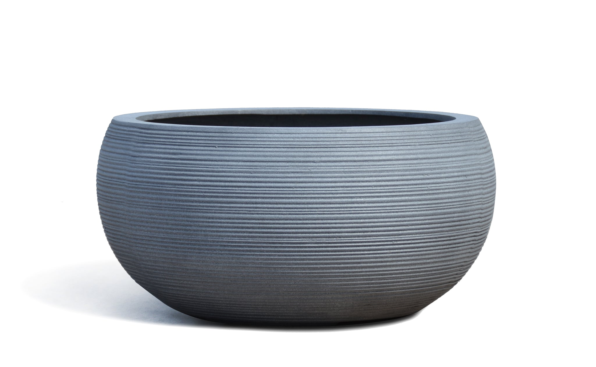 grey low bowl planter
