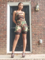 Tie me up camo and lace biker set