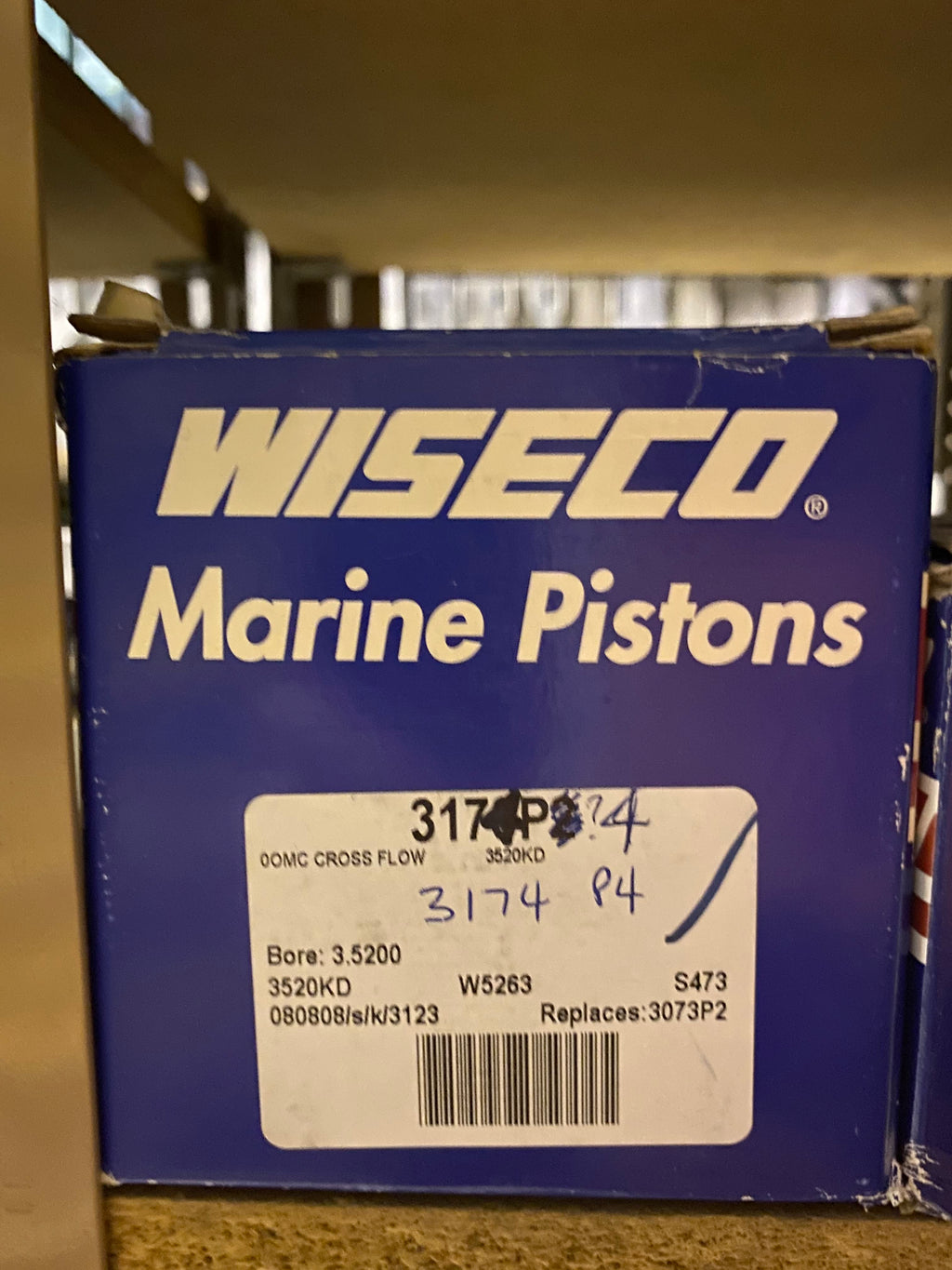 Wiseco Marine Piston Kit 3174P4 OMC Cross Flow +.044 3520KD
