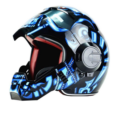 Iron man helmet motorcycle marvel superhero helmets half open face blue color