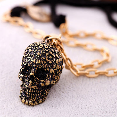 Vintage skull pendant necklace gothic flower CZ men women biker jewelry