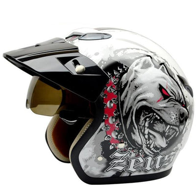 Vintage motorcycle helmets tiger printing Retro 3/4 open face helmet DOT approved