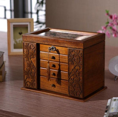 Vintage storage box wood multi-layer for organizer marriage gifts