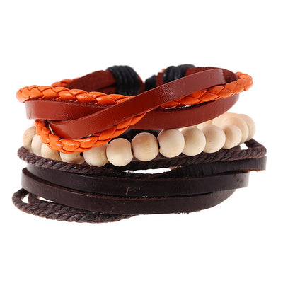 Leather bracelets men cuff jewelry punk weave wrap strand