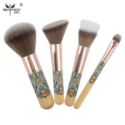 Makeup brush set vintage travel size 4pcs powder blushes contour eye shadow cosmetics kits