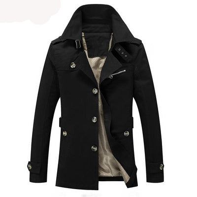 Men jacket coat detective style casual fit overcoat outerwear