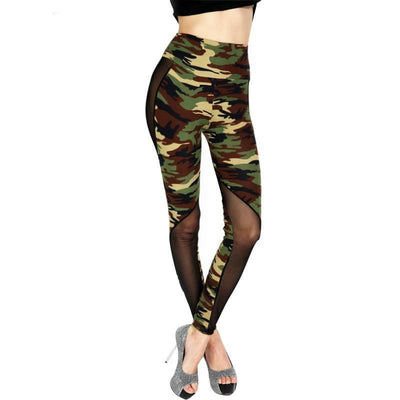 Camouflage army green pants sexy leggings stretch mesh high waist women