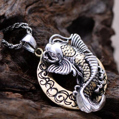 925 silver jewelry Talisman amulet Thai moon cute fish pendant for blessing brimful happiness