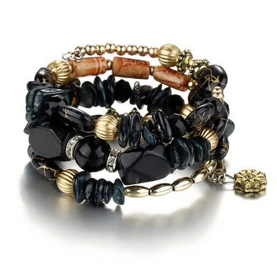 Bohemian charms beads bracelets ethnic Tibet multilayer natural stone bangles for women
