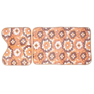 Bathroom mats floor toilet pattern floral rug non-slip bath decor kit 2pcs