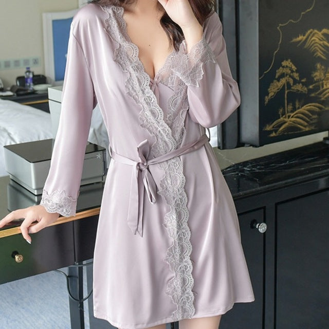 ef057b9ba44 Sexy robe sleepwear women satin silk lace new year gifts - Webuys
