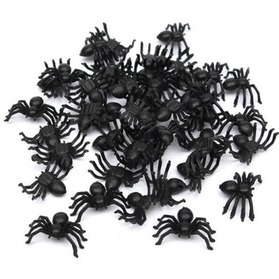 Black spider halloween decor funny party prank joking toys gifts 50pcs