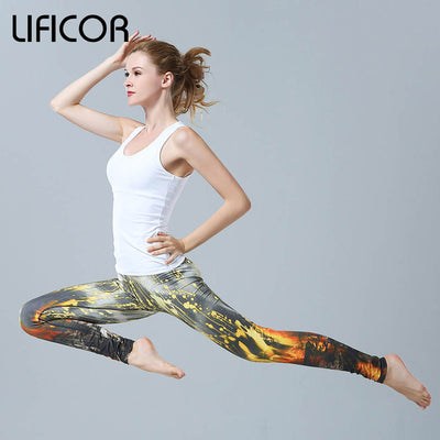 Yoga pants slim fitness women gym leggings printed running sportwear